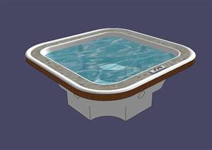 现代风格详细室内浴缸设计SU(草图大师)模型