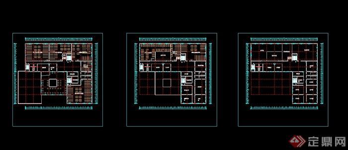 某现代图书馆建筑设计设计cad方案(3)