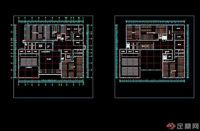 某现代图书馆建筑设计设计cad方案(2)