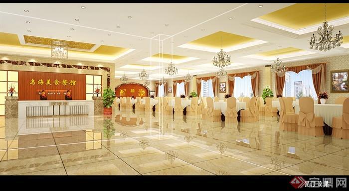 现代风格详细酒店餐厅设计cad施工图及效果图(1)