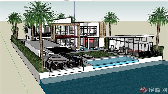 某现代风格别墅建筑及庭院景观su模型(1)
