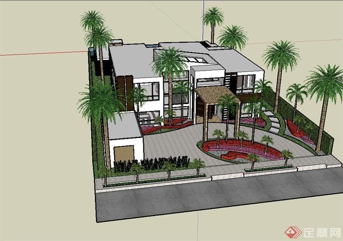 某现代风格别墅建筑及庭院景观su模型(3)