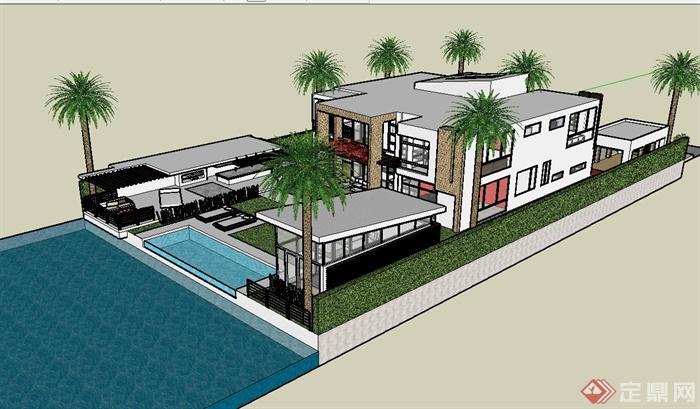 某现代风格别墅建筑及庭院景观su模型(2)