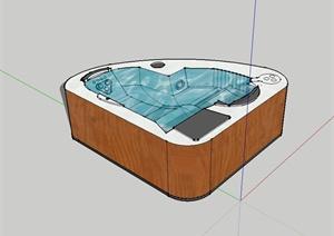 某现代风格温泉室内浴池设计SU(草图大师)模型