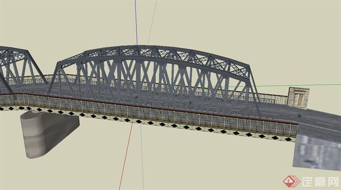 现代钢架结构桥设计su模型(2)