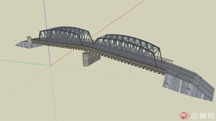 现代钢架结构桥设计su模型(3)