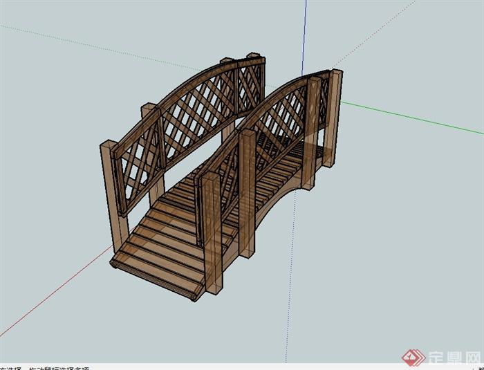 现代全木质园桥详细设计su模型(1)