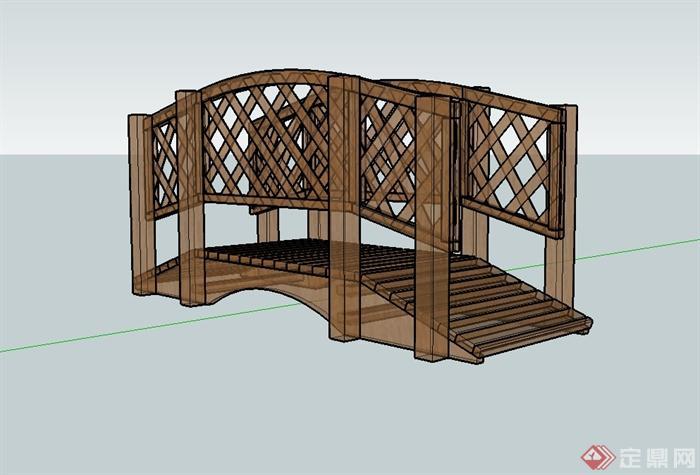 现代全木质园桥详细设计su模型(2)
