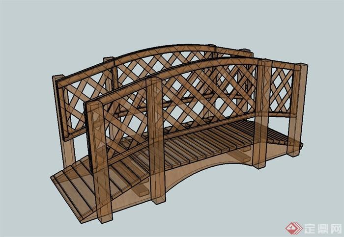 现代全木质园桥详细设计su模型(3)