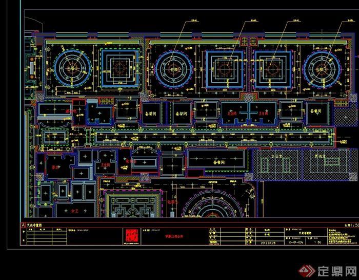现代风格详细梦露红酒会所设计cad施工图(1)