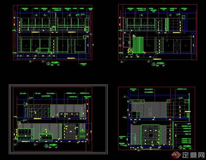 现代风格一套茶馆完整设计cad竣工图(2)
