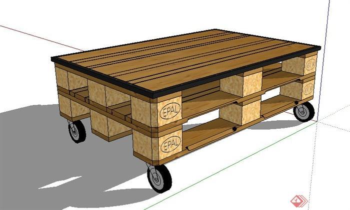 带轮子木质小茶几设计su模型(2)