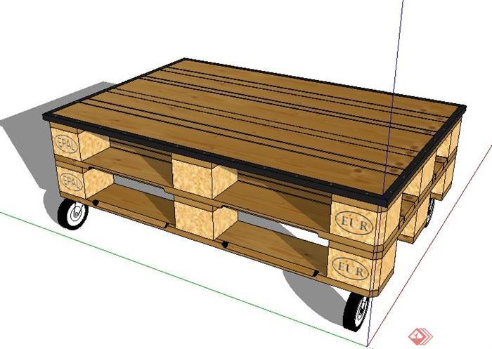 带轮子木质小茶几设计su模型(1)