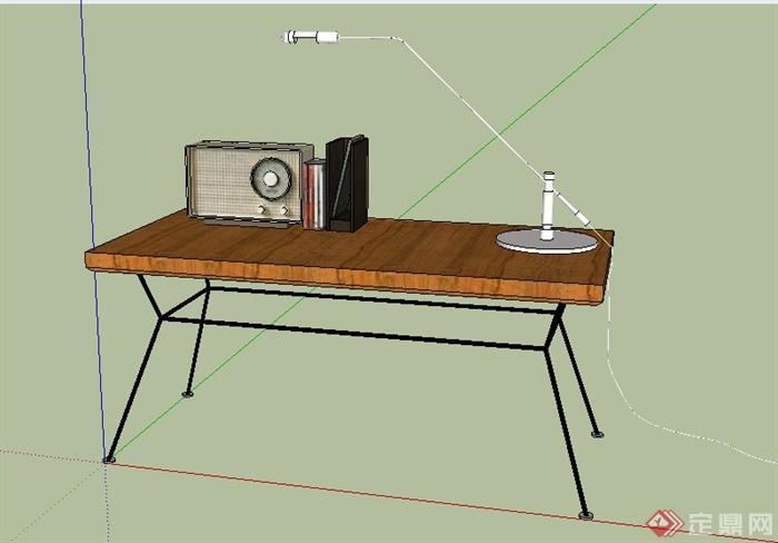 现代书桌及陈设su模型(1)