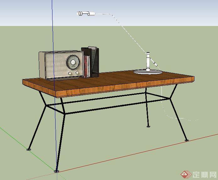 现代书桌及陈设su模型(2)