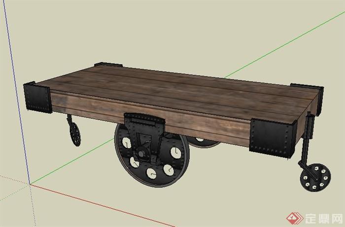 带轮子木质桌子设计su模型(1)