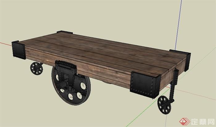 带轮子木质桌子设计su模型(3)