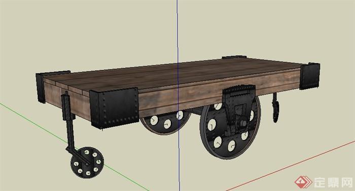 带轮子木质桌子设计su模型(2)