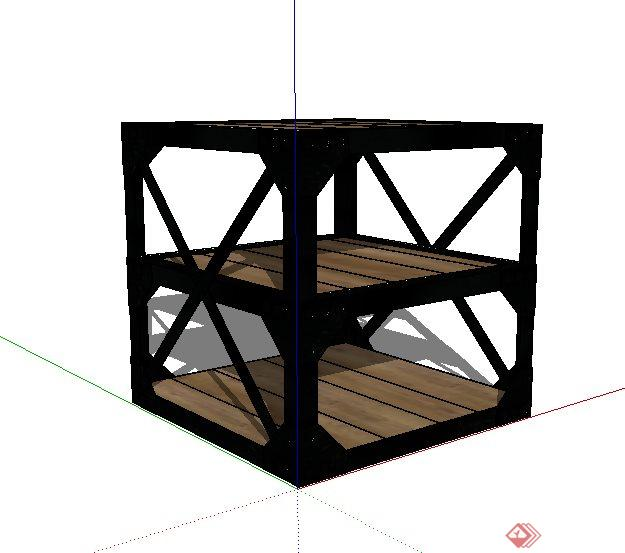 现代三层小边几设计su模型(2)