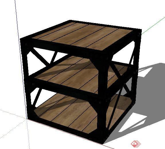现代三层小边几设计su模型(1)