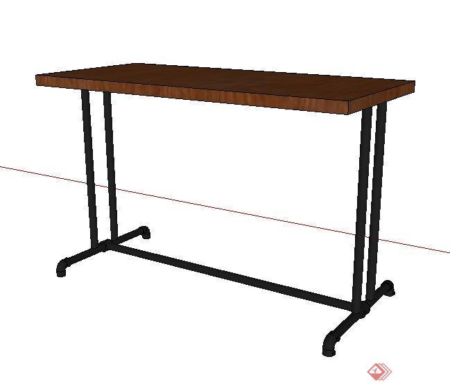 工业风木桌设计su模型(1)