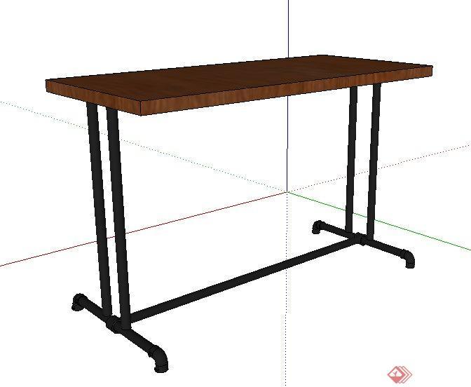工业风木桌设计su模型(2)