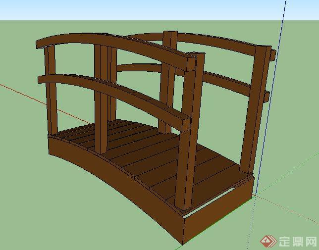 景观拱形小木桥设计su模型(1)