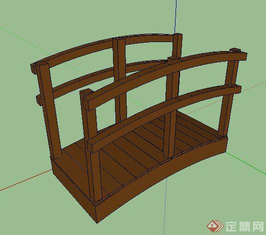 景观拱形小木桥设计su模型(2)