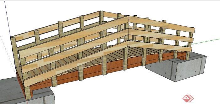 景观木质小桥设计su模型(1)