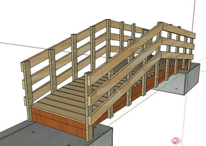 景观木质小桥设计su模型(2)