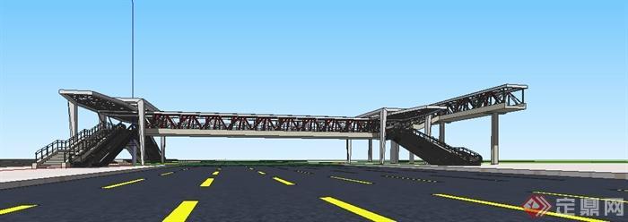 现代人行天桥设计su精细模型(1)