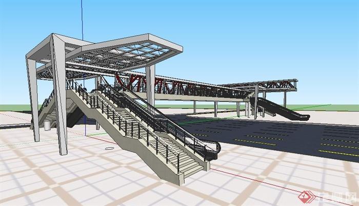 现代人行天桥设计su精细模型(2)