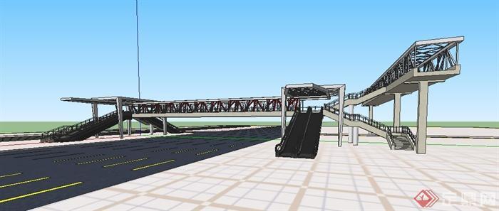 现代人行天桥设计su精细模型(3)