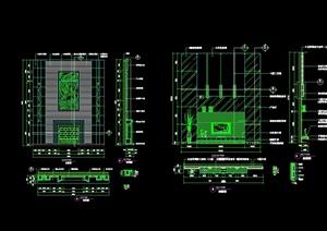 某欧式风格详细别墅背景墙设计cad施工详图