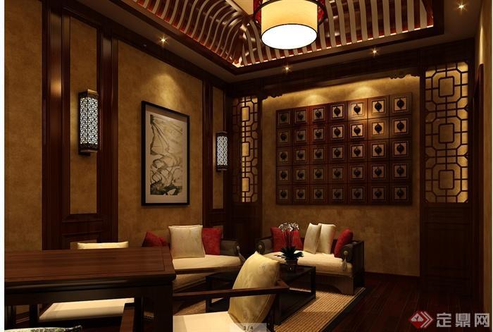 某现代中式风格详细凯歌归茶楼多功能厅详细cad施工图及效果图(3)