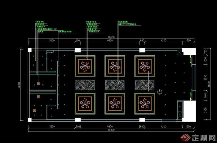 某现代中式风格详细凯歌归茶楼多功能厅详细cad施工图及效果图(5)
