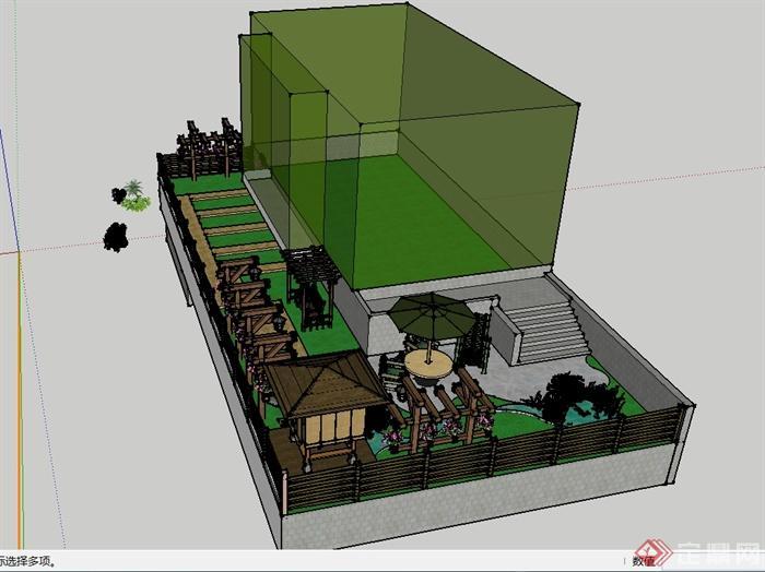 现代风格详细别墅庭院花园景观设计su模型(1)