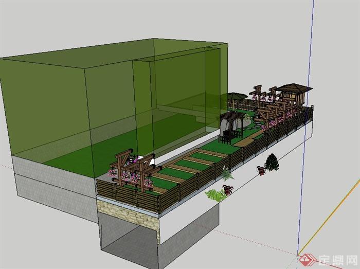 现代风格详细别墅庭院花园景观设计su模型(2)