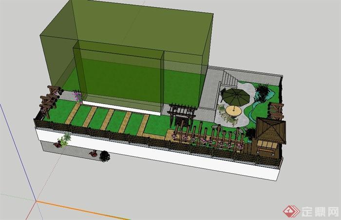 现代风格详细别墅庭院花园景观设计su模型(3)