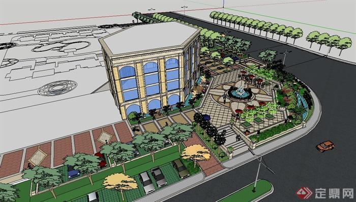 欧现代风格详细完整的售楼处景观设计su模型(2)