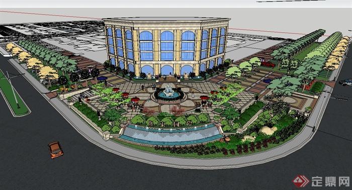 欧现代风格详细完整的售楼处景观设计su模型(1)