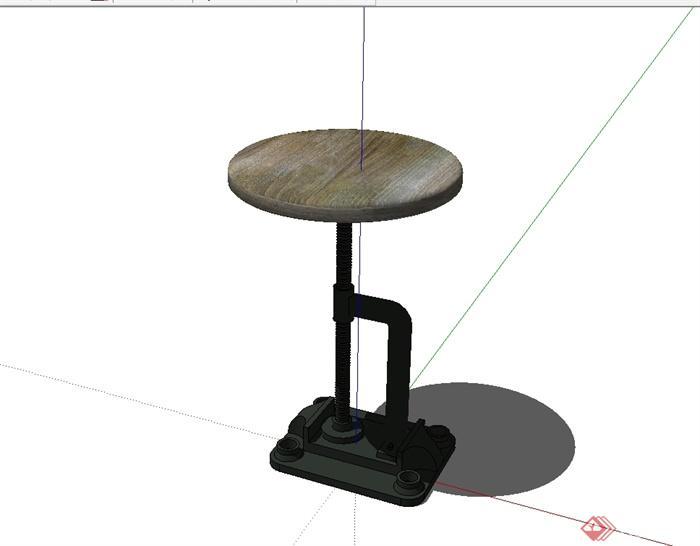 某现代风格独特造型的桌子设计su模型(1)