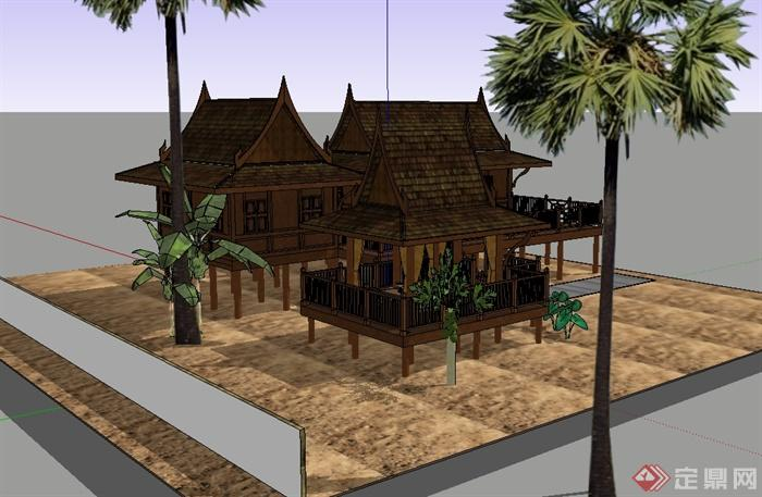 东南亚风格详细完整的民居住宅楼设计su模型(2)