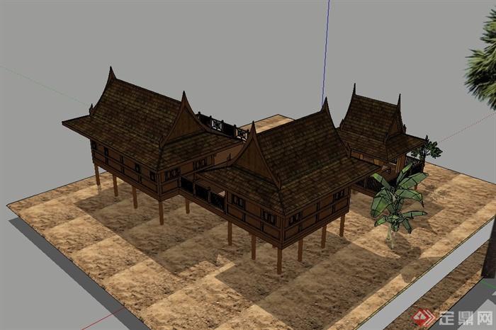 东南亚风格详细完整的民居住宅楼设计su模型(3)