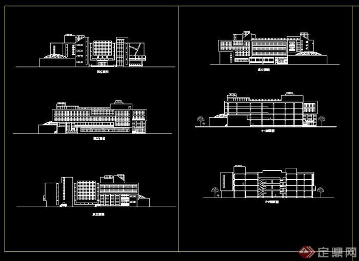 某现代风格多层图书馆建筑设计cad方案图(2)