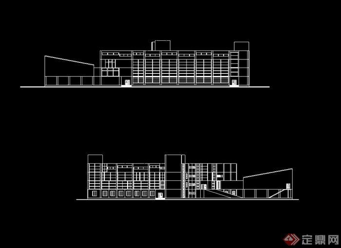 某现代简单的图书馆建筑设计cad方案(2)