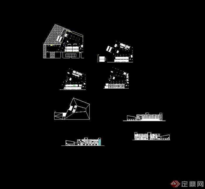 某现代简单的图书馆建筑设计cad方案(3)