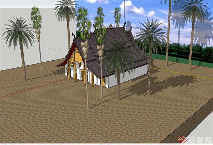 某东南亚风格详细的居住单层建筑设计su模型(2)