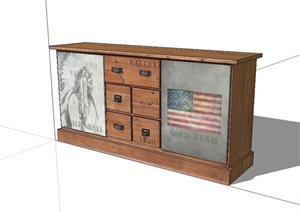 现代风格详细精致的全木质柜子设计SU(草图大师)模型