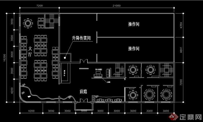 某现代中式风格详细大型中餐厅装修设计cad方案图(4)